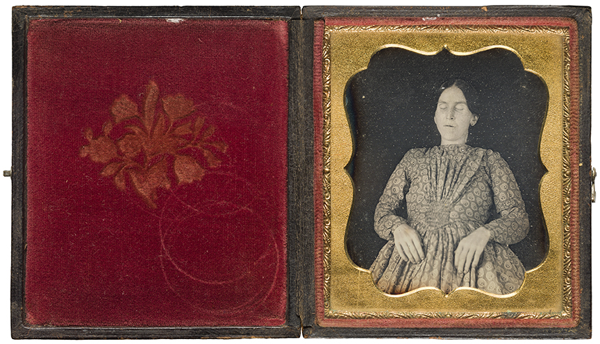 Unidentified photographer, [Deceased woman], ca. 1850–65, daguerreotype in leather case. Ryerson Image Centre, Gift of Dr. Martin J. Bass and Gail Silverman Bass, 2014.